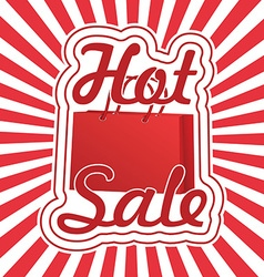 Realistic red shopping bag with text hot sale vector