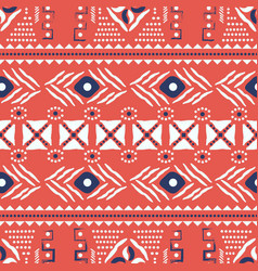 Red and white ethnic boho seamless pattern vector