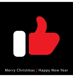 red mitten thumb up icon on black background vector image