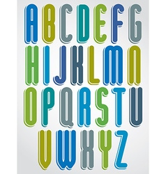 Rounded cartoon colorful uppercase letters with vector
