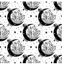seamless pattern mystical moon with crystal and vector image