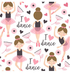 Seamless pattern white with cute ballerina girl vector