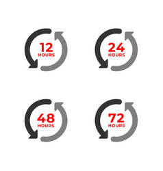 set color icons 12 24 48 72 hours vector image