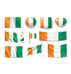 set ivory coast flags banners banners symbols vector image