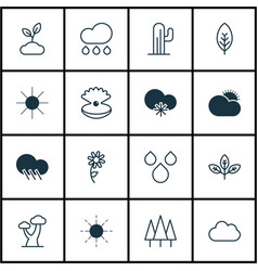 set of 16 world icons includes cold climate rain vector image