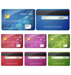 Set of realistic credit card two sides isolated on vector image