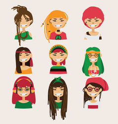 set with lovely rastafarian girls vector image