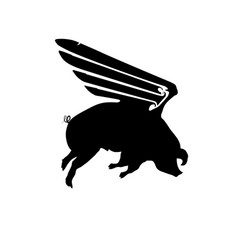 Silhouette funny piggy with wings flying pig vector