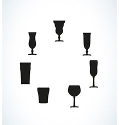 Silhouettes of glasses for water or alcohol vector