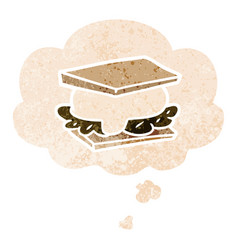 Smore cartoon and thought bubble in retro vector