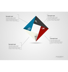 Square origami infographic vector