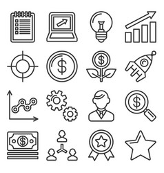 startup business icons set line style vector image