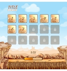 Stone and rocks desert game background with user vector image