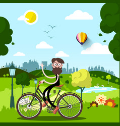 sunny day in city park with waving man on bike vector image