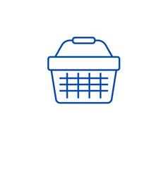 supermarket cart line icon concept supermarket vector image