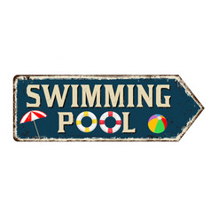 swimming pool vintage rusty metal sign vector image