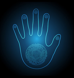 Technology cyber security light hand palm vector