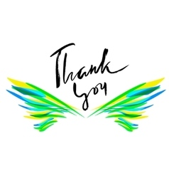 Thank you card Hand drawn lettering Ink vector