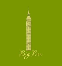 the london landmark the big ben clock-tower vector image
