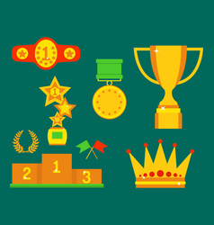 trophy champion cup flat icon winner gold vector image