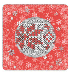 vintage card knitting ball toy snowflakes vector image