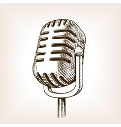 Vintage microphone hand drawn engraving vector