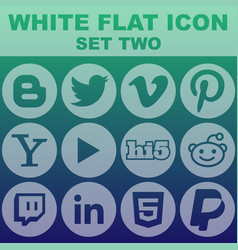 White flat icon set two image vector