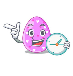 With clock cartoon shape easter color on eggs vector