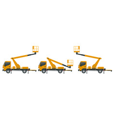 Yellow engine powered scissor lift isolated vector