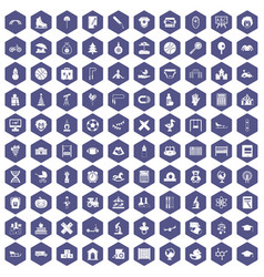 100 kids icons hexagon purple vector image