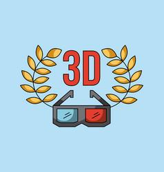 3d glass cinema art concept vector image