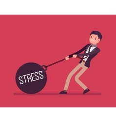 Businessman dragging a weight Stress on chain vector image vector image