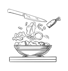Cooking salad with fresh vegetables sketch vector image