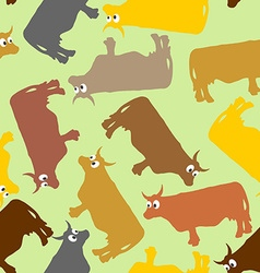 Cow seamless pattern Crazy cow with big eyes Pets vector image