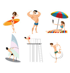 six beach characters vector image vector image