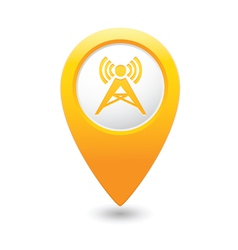 wireless icon yellow map pointer vector image vector image