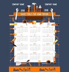 2018 calendar template of work tools vector image vector image