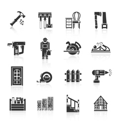 Carpentry Icons Black vector image
