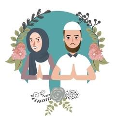 couple muslem islam greetings ramadhan ied as for vector image vector image