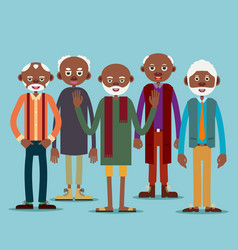 group of elderly afro american men vector image