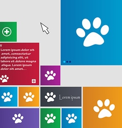 paw icon sign buttons Modern interface website vector image