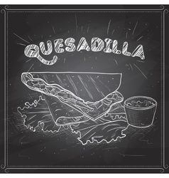 Quesadilla scetch on a black board vector image vector image
