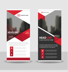 red triangle business roll up banner flat vector image vector image