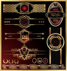 set of vintage framed golden labels vector image vector image