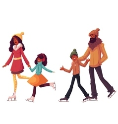 black Family of father mother sister and son ice vector image vector image