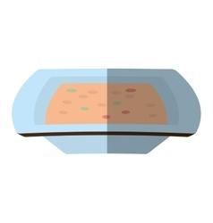 cartoon pot chicken food utensils shadow vector image