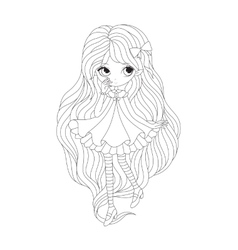 Coloring book page - girl elf vector image vector image