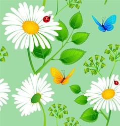 daisy pattern onblue backgr vector image