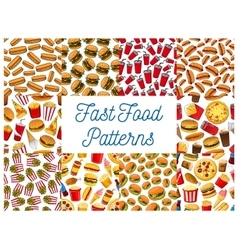 Fast food seamless pattern backgrounds vector image vector image