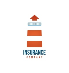 Insuramce company logo template with lighthouse vector image